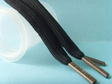 black debossed logo metal aglets shoelaces
