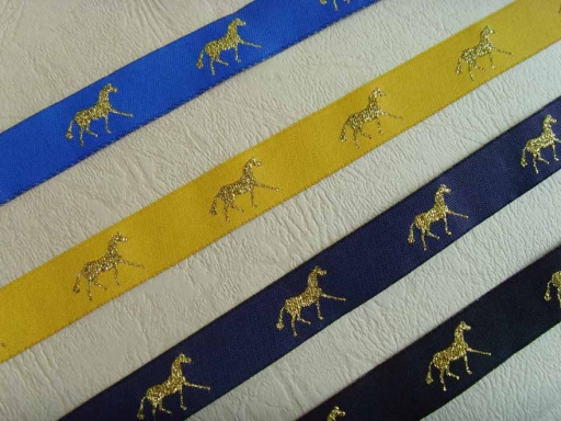 16mm gold damask horse ribbon for horse racing festival
