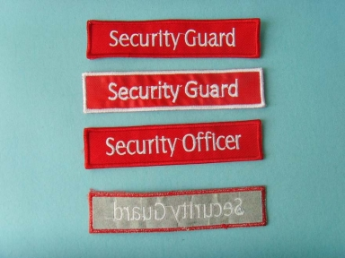 red security guard patch with padding backing