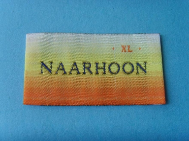 Gold metallic woven label in rainbow colour