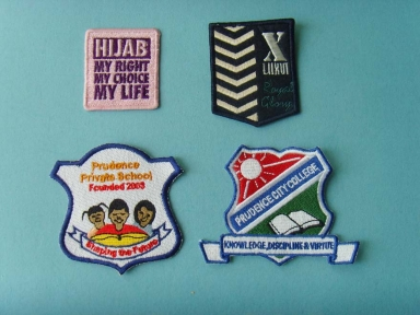 custom logo embroidery patch for school uniform