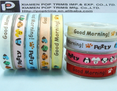 Custom Cartoon Printed Grosgrain Ribbon